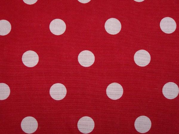 Tissu rouge à gros pois